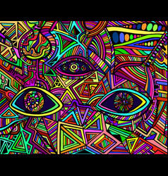 Psychedelic shamanic variegated eyes crazy vector
