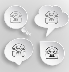 Push-button telephone White flat buttons on gray vector