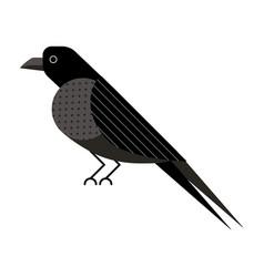 Raven or crow bird icon in flat design vector