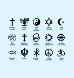 Religious signs set icons religion and faith vector