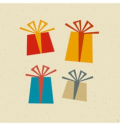Retro paper present box gift box set vector