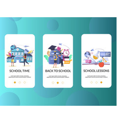 school mobile app onboarding screens vector image