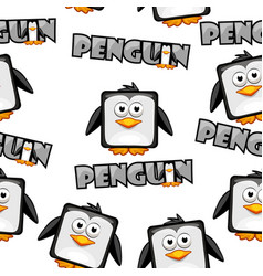seamless pattern cute cartoon square penguin on vector image