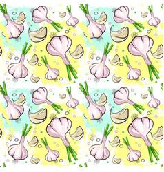 Seamless pattern garlic vegetables ornament vector