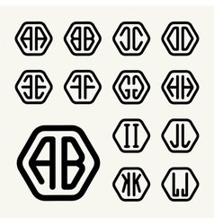Set 1 create monograms two letters in a hexagon vector image