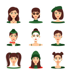 set avatars beautiful girls collection of vector image