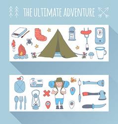 Set doodle adventure banners vector
