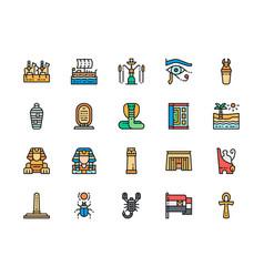 Set egyptian culture color line icons caravan vector