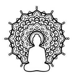 Silhouette buddha over ornate mandala round vector