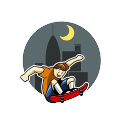 Skater boy And Big City Night Background vector image