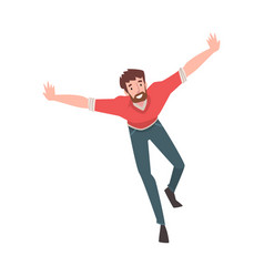 smiling bearded man running with arms outstretched vector image