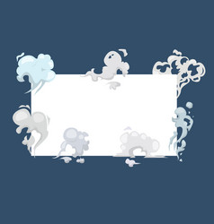 smoke clouds fog and steam cartoon frame vector image
