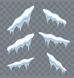 snow cap ice set winter design snowy icicle roof vector image