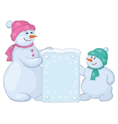 Snowmen with sign vector