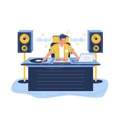 Sound designer creating effects flat vector
