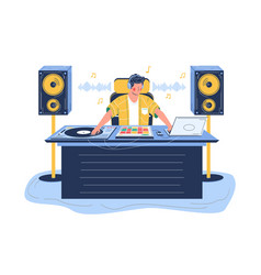 sound designer creating sound effects flat vector image