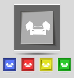 sports car icon sign on original five colored vector image