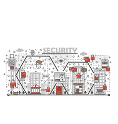 thin line security poster banner template vector image