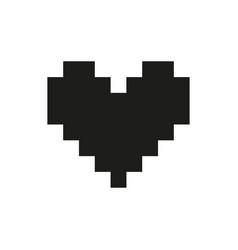 valentine heart pixel monochrome vector image