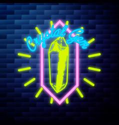 vintage emblem glowing neon sign vector image