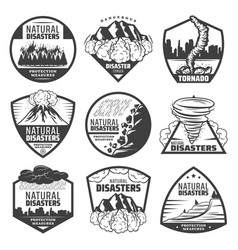Vintage monochrome natural disaster labels set vector