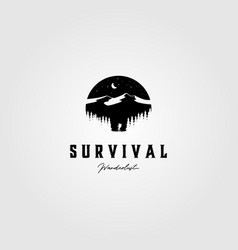 Vintage survival adventure logo outdoor design vector