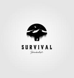 vintage survival adventure logo outdoor design vector image