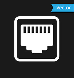 White network port - cable socket icon isolated on vector