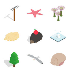 Wildlife preservation icons set isometric style vector