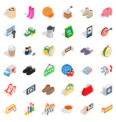 Woman shop icons set isometric style vector