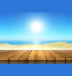 Wooden table looking out to defocussed beach vector