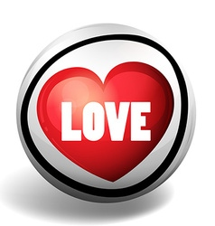 Word love on round badge vector