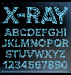 X-ray font transparent roentgen alphabet vector
