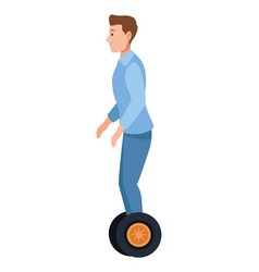 Young man riding on electric scooter vector