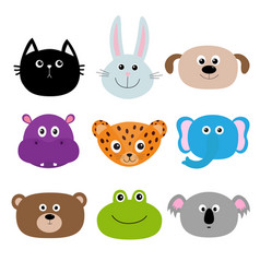 Zoo animal head face cute cartoon character set vector