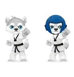 cartoon husky martial arts vector image vector image