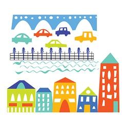 City elements - houses cars bridge vector image
