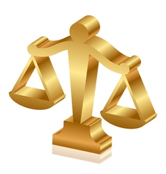 gold justice scales 3d vector image vector image