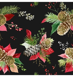 Vintage Poinsettia Flowers Seamless Background vector image