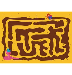 Worm Maze Cartoon vector image