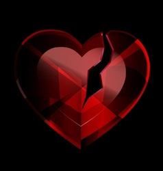 broken heart-crystal vector image vector image