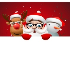 Christmas card with Santa Claus deer and snowman vector image vector image