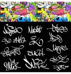 Graffiti font tags urban set vector