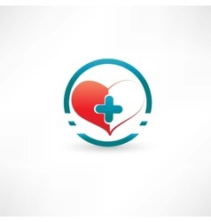 heart and medical cross inside the circle vector image