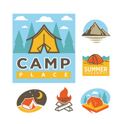 summer camp place promotional logotypes with tent vector image vector image