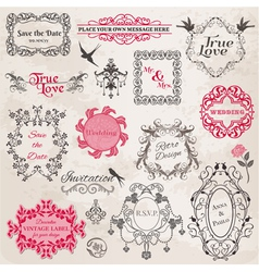 Wedding Vintage Frames and Design Elements vector image