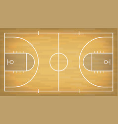 basketball court with wooden floor view from above vector image