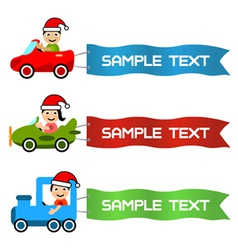 cartoon kids driving toy vehicle with message flag vector image vector image