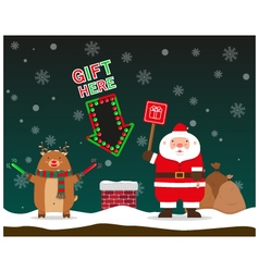cute fat big Santa Claus and reindeer signal to vector image