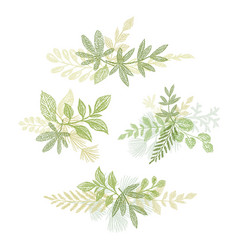 green bouquets hand drawn composition vector image vector image